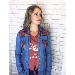 Forever 21 ~ Aztec embroidered denim top ~ Size S